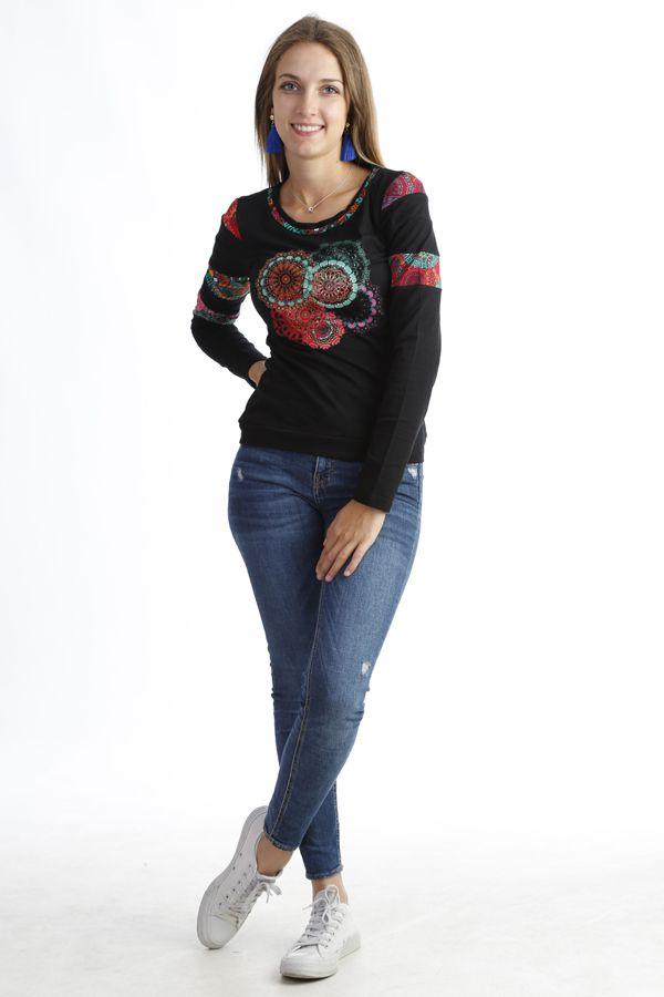 T-shirt imprimé  tendance à manches longues et col rond Noir Tania 302537
