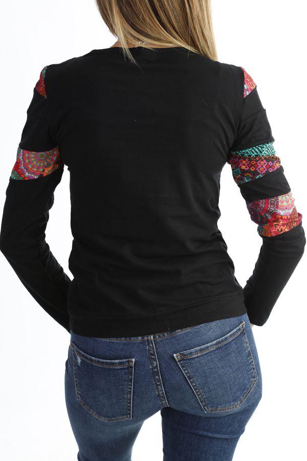 T-shirt imprimé  tendance à manches longues et col rond Noir Tania 302538