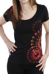 T-shirt imprimé à manches courtes et col rond noir Alizée 293957
