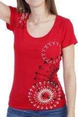 T-shirt imprimé et coloré à manches courtes rouge Alizée 293963