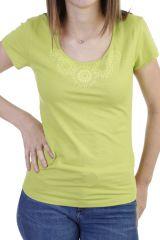 T-shirt imprimé ethnique à manches courtes et col rond anis Luce 293742