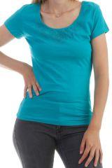 T-shirt imprimé ethnique à manches courtes et col rond Azur Luce 298061