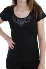 T-shirt imprimé ethnique à manches courtes et col rond noire Luce 293745