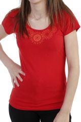 T-shirt imprimé ethnique à manches courtes et col rond rouge Luce 293739