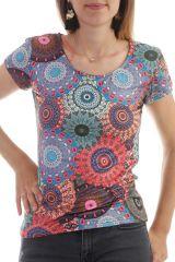 T-shirt imprimé mandalas à manches courtes et col rond Orange Oriana 298110