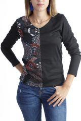 T-shirt imprimé tendance à manches longues et col V noir Miri 302572