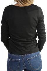T-shirt imprimé tendance à manches longues et col V noir Miri 302573