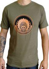 T-shirt Kaki en coton pour homme coupe droite et logo original coloré James 297318
