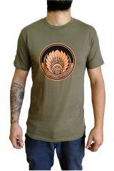 T-shirt Kaki en coton pour homme coupe droite et logo original coloré James 297319