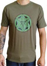 T-shirt Kaki homme en coton avec logo géométrique vert Jake 297380