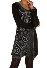 T-shirt long Noir à manches longues asymétrique tendance imprimé Barua 301523