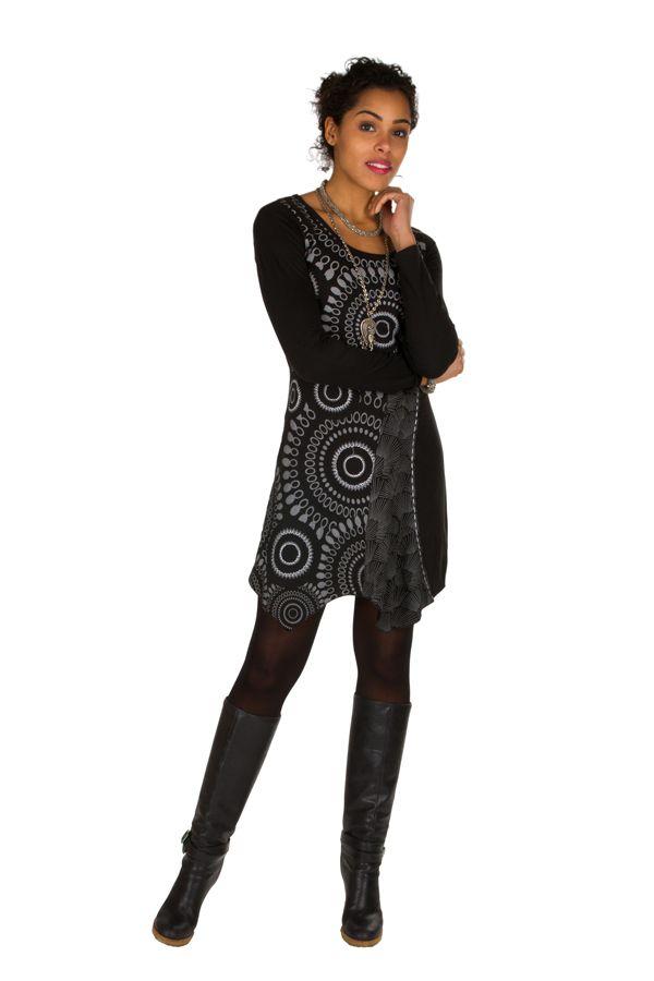 T-shirt long Noir à manches longues asymétrique tendance imprimé Barua 301524