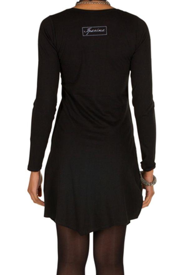 T-shirt long Noir à manches longues asymétrique tendance imprimé Barua 301525