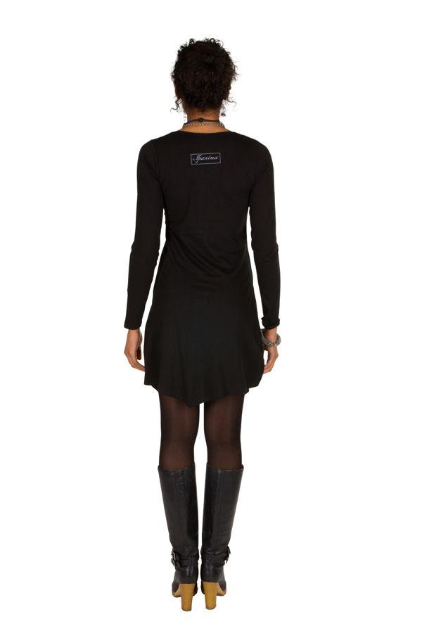 T-shirt long Noir à manches longues asymétrique tendance imprimé Barua 301526