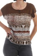 T-shirt marron avec imprimé fantaisie à manches courtes Aly 297806