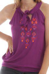 T-shirt Mauve avec col goutte et lien à nouer Mérisa 298070