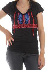 T-shirt Noir original à capuche et manches courtes Opala 298122