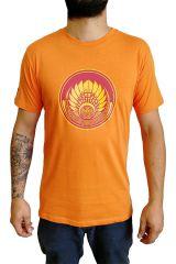 T-shirt Orange en coton pour homme coupe droite et logo original coloré James 297313