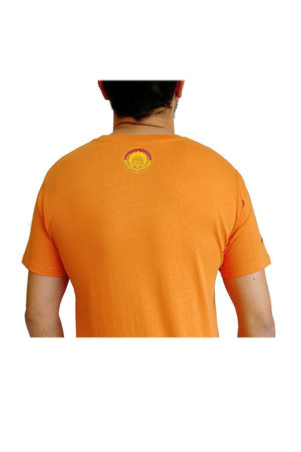 T-shirt Orange en coton pour homme coupe droite et logo original coloré James 297314