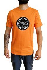 T-shirt Orange homme en coton avec logo géométrique Jake 297365