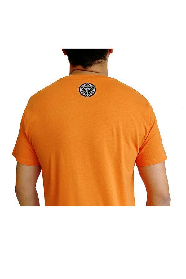 T-shirt Orange homme en coton avec logo géométrique Jake 297367