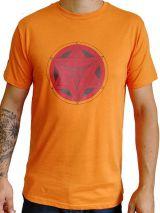 T-shirt Orange homme en coton avec logo géométrique rouge Jake 297372