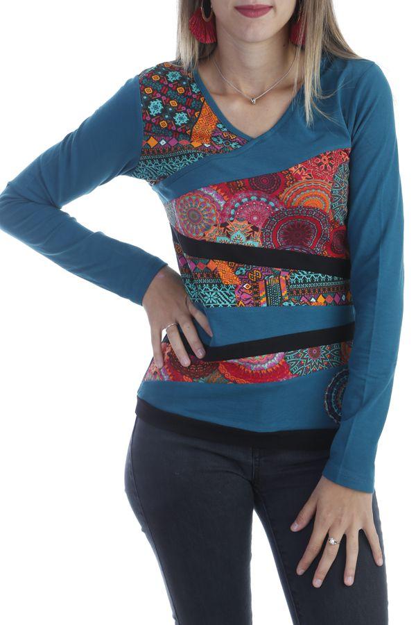 T-shirt original à manches longues et imprimé multicolore émeraude Azop 303267
