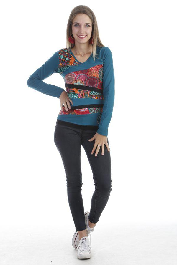 T-shirt original à manches longues et imprimé multicolore émeraude Azop 303268