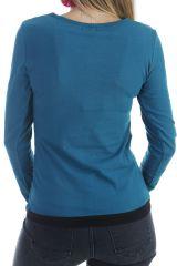 T-shirt original à manches longues et imprimé multicolore émeraude Azop 303269