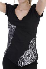 T-shirt original coupe asymétrique et col rond noir Sophia 293934