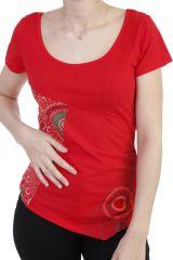 T-shirt original coupe asymétrique et col rond rouge Sophia 293918