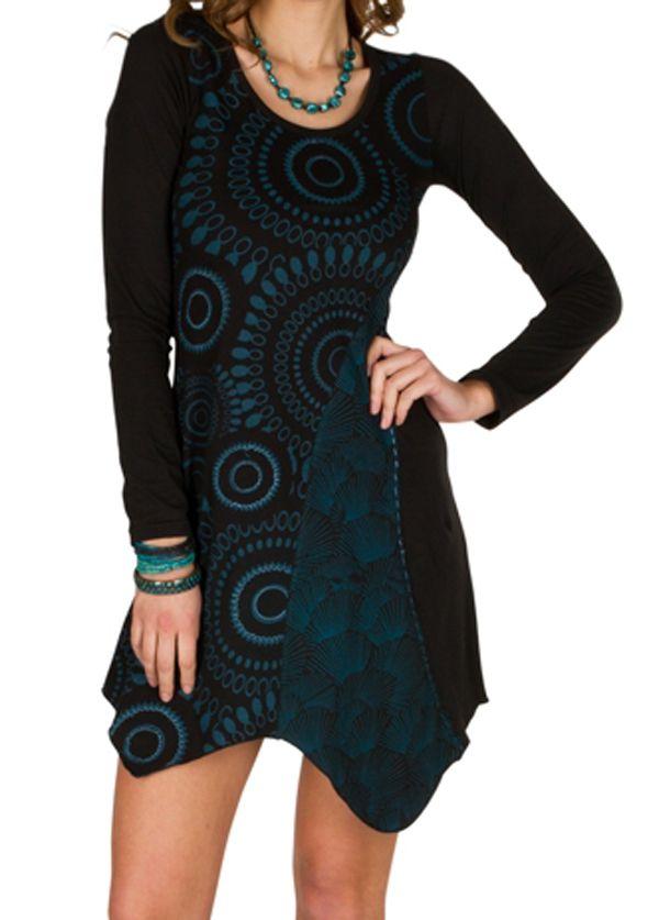 T-Shirt original long asymétrique Noir à imprimé tendance Zahra 301499
