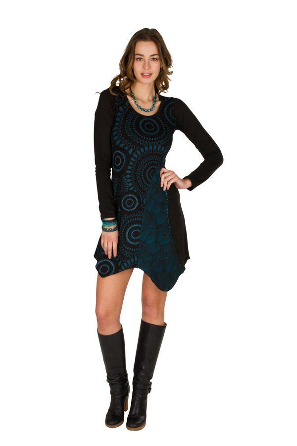 T-Shirt original long asymétrique Noir à imprimé tendance Zahra 301500
