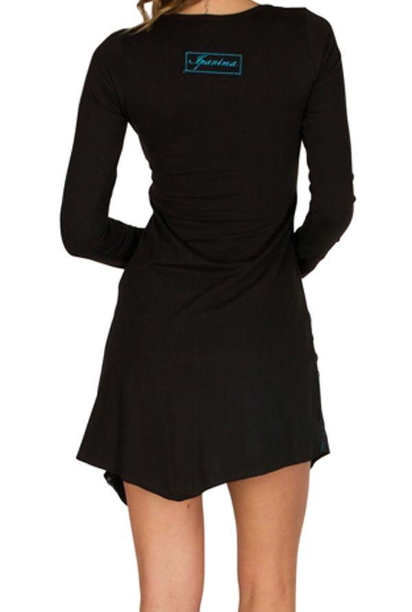 T-Shirt original long asymétrique Noir à imprimé tendance Zahra 301501