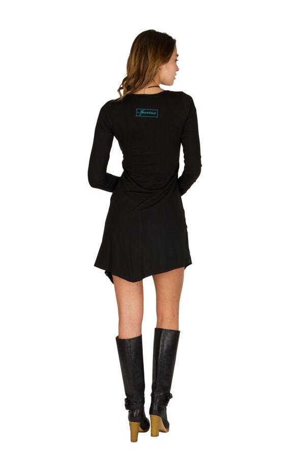 T-Shirt original long asymétrique Noir à imprimé tendance Zahra 301502
