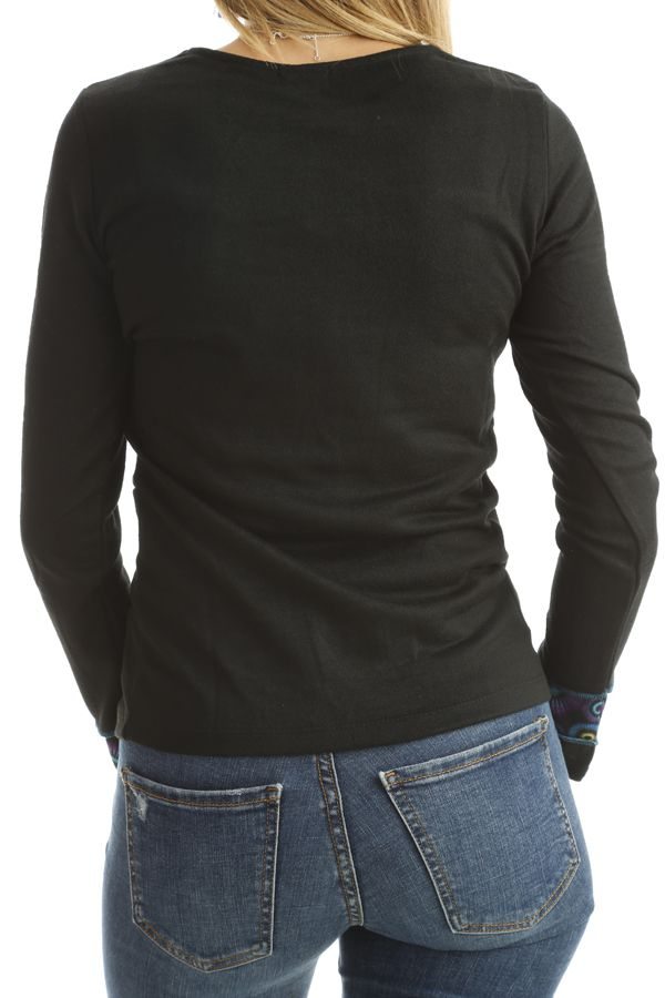 T-shirt original pour femme avec imprimés Noir Dawn 302517