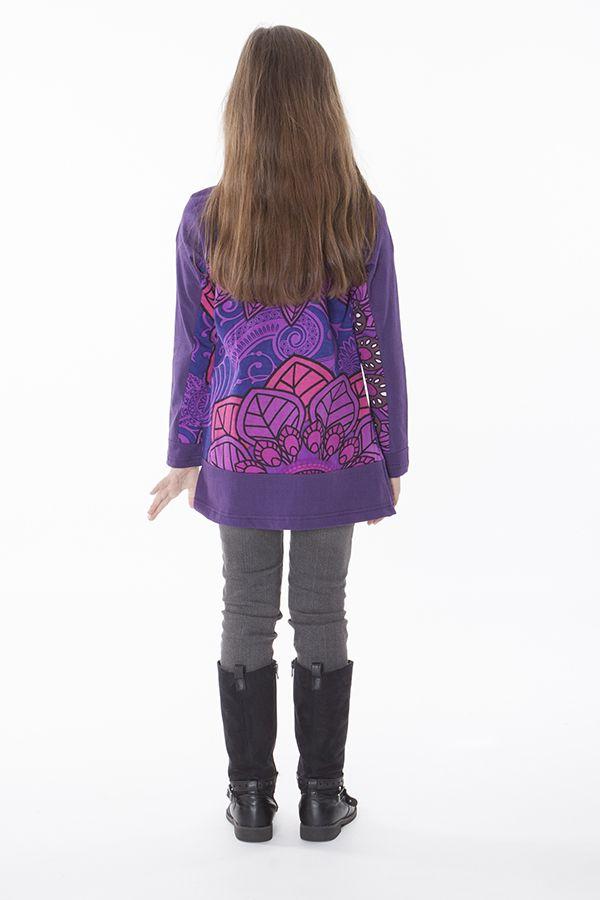 T-shirt pour enfant à manches longues violet 287599