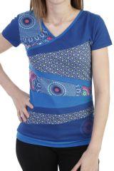 T-shirt pour femme avec assemblage de patchworks bleue Lucky 293760