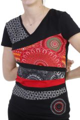 T-shirt pour femme avec assemblage de patchworks noire Lucky 293757
