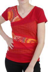 T-shirt pour femme avec assemblage de patchworks rouge Lucky 293754