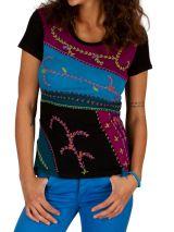 T-Shirt pour femme original et imprimé ethnique Dessouk noir 314208