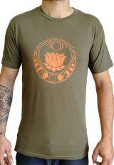 T-shirt pour homme à tendance Zen Lotus Original Kaki et Orange 297447
