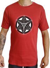 T-shirt rouge homme en coton avec logo géométrique noir Jake 297390
