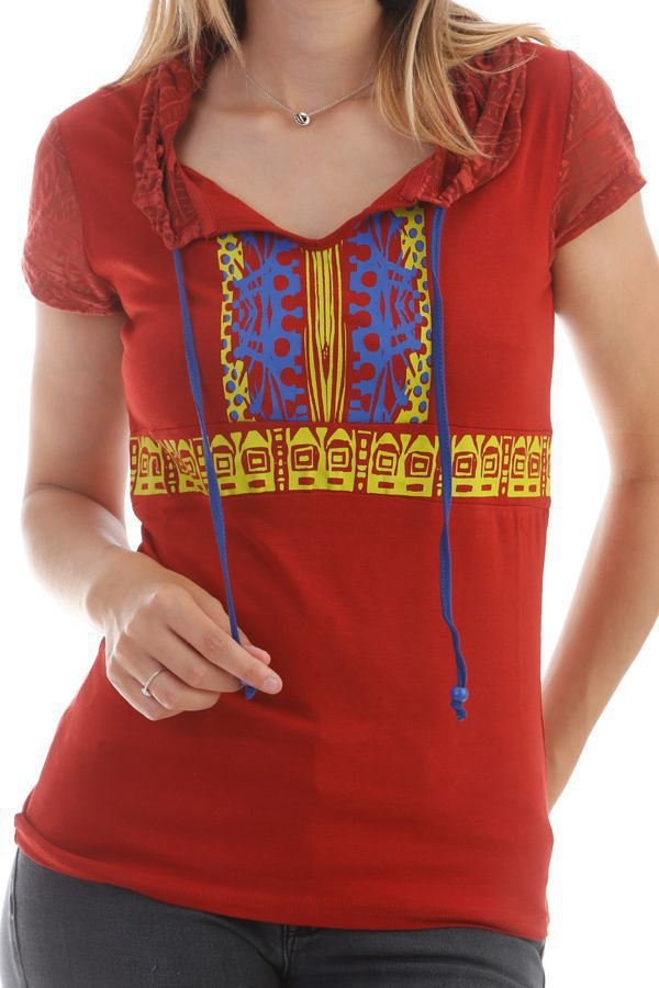 T-shirt Rouille original à capuche et manches