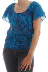 T-shirt ultra original avec manches volantées Bleu Mulan 298031