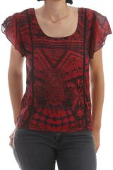 T-shirt ultra original avec manches volantées Rouge Mulan 297842