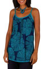 Tank top débardeur femme en coton imprimé bleu Wendy 309696