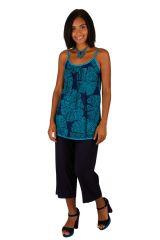 Tank top débardeur femme en coton imprimé bleu Wendy 309697