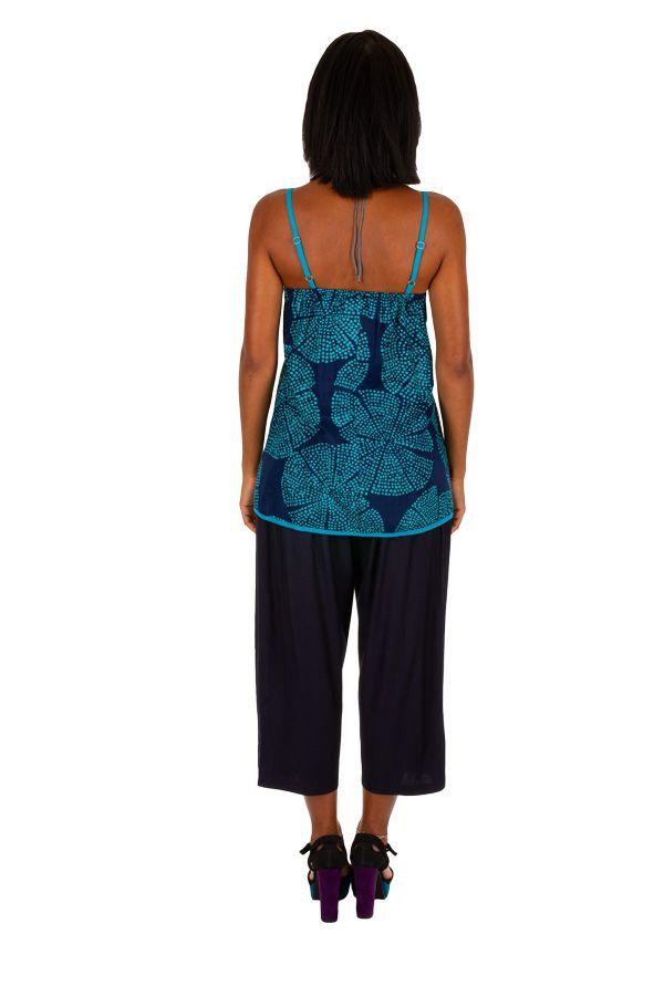 Tank top débardeur femme en coton imprimé bleu Wendy 309698