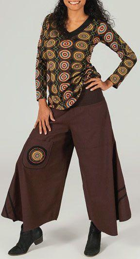 Tee Shirt à manches longues ethnique et tendance Marron Isaure 273900